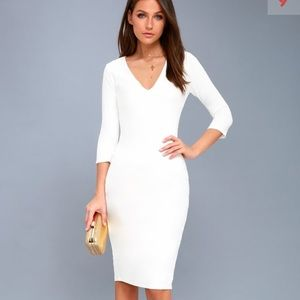 Lulus Style and Slay white bodicon midi worn 1x